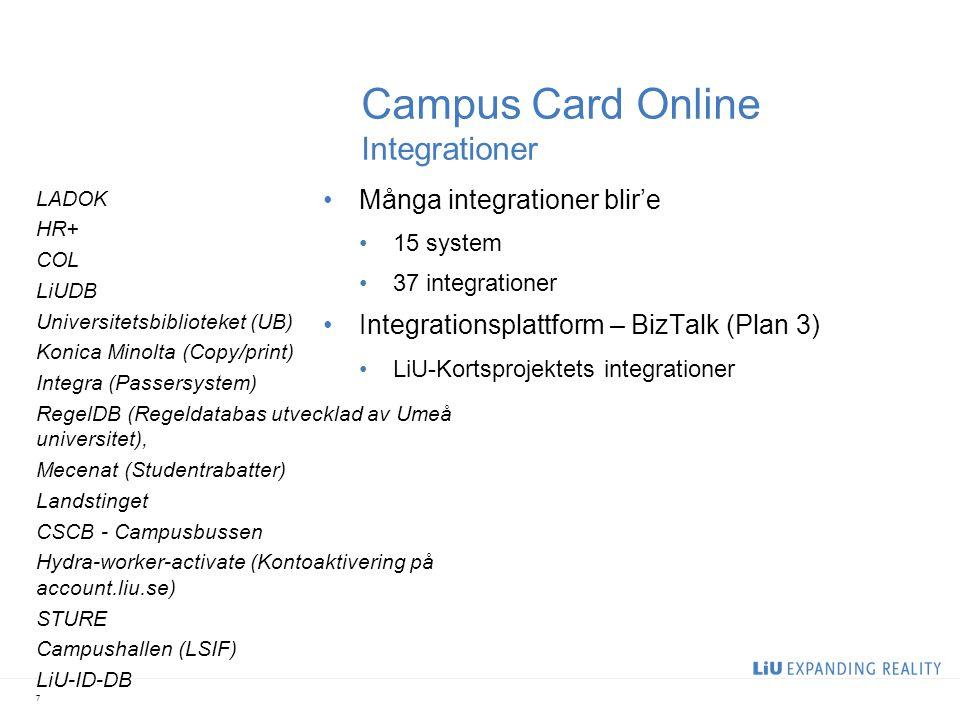 Campus Card Online Integrationer