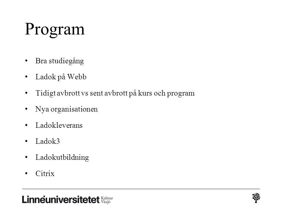 Program Bra studiegång Ladok på Webb