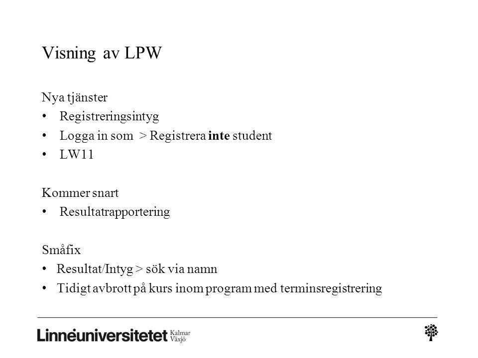 Visning av LPW Nya tjänster Registreringsintyg