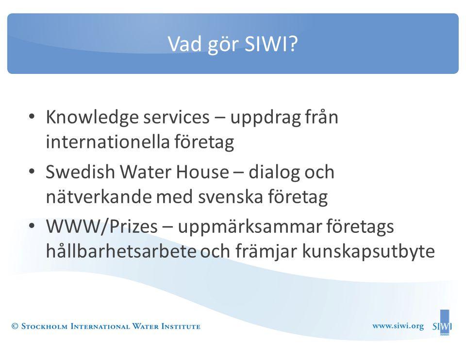 Vad gör SIWI Knowledge services – uppdrag från internationella företag. Swedish Water House – dialog och nätverkande med svenska företag.