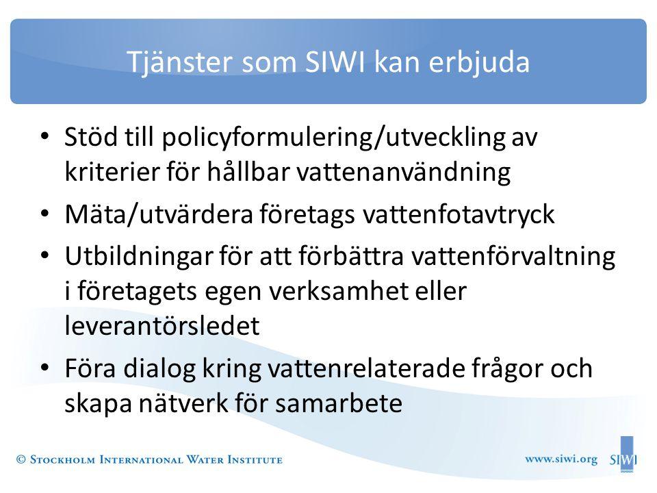 Tjänster som SIWI kan erbjuda