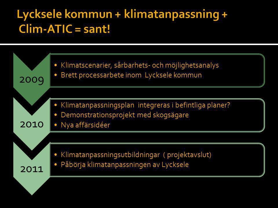 Lycksele kommun + klimatanpassning + Clim-ATIC = sant!