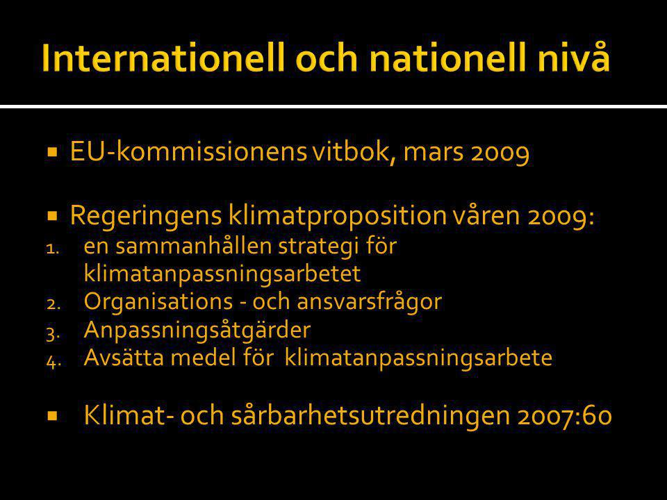 Internationell och nationell nivå