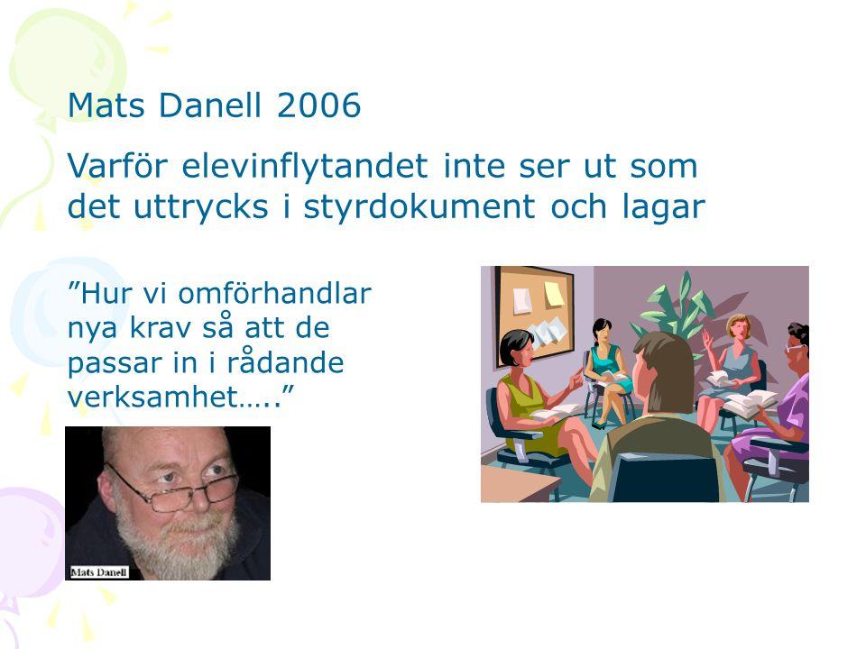 Mats Danell 2006 Varför elevinflytandet inte ser ut som det uttrycks i styrdokument och lagar.