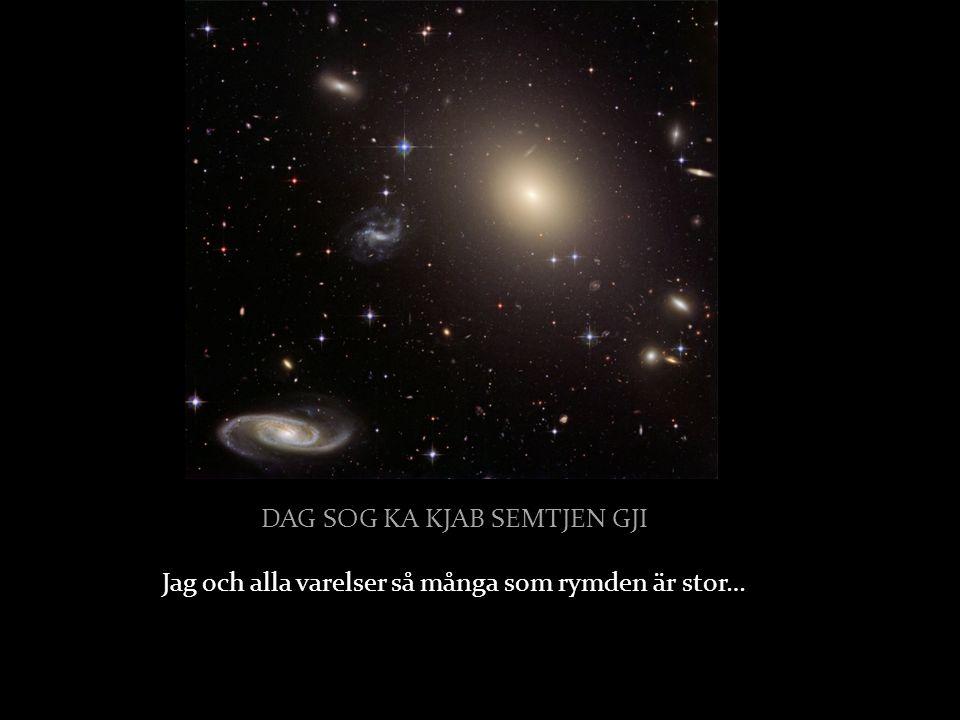 DAG SOG KA KJAB SEMTJEN GJI DAG SOG KA KJAB SEMTJEN GJI Jag och alla varelser så många som rymden är stor…