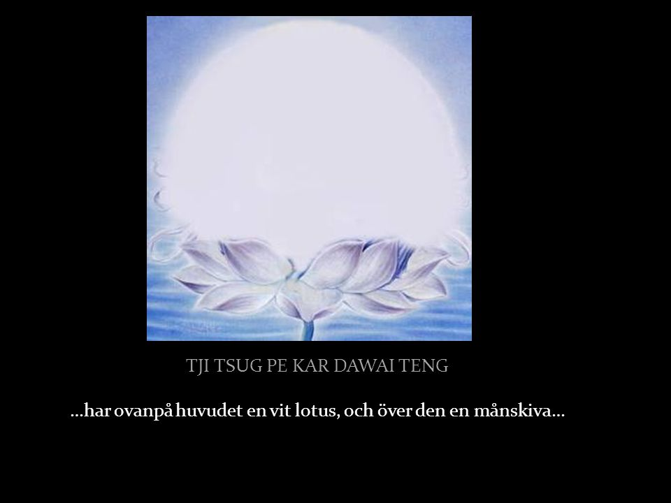 TJI TSUG PE KAR DAWAI TENG …har ovanpå huvudet en vit lotus, och över den en månskiva…