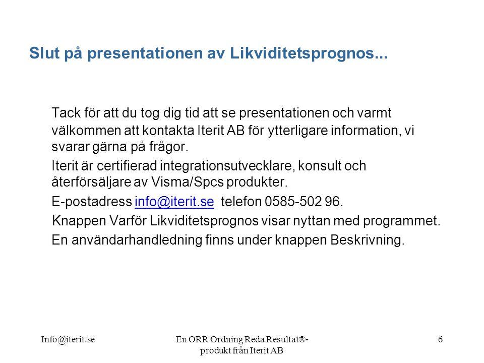 Slut på presentationen av Likviditetsprognos...