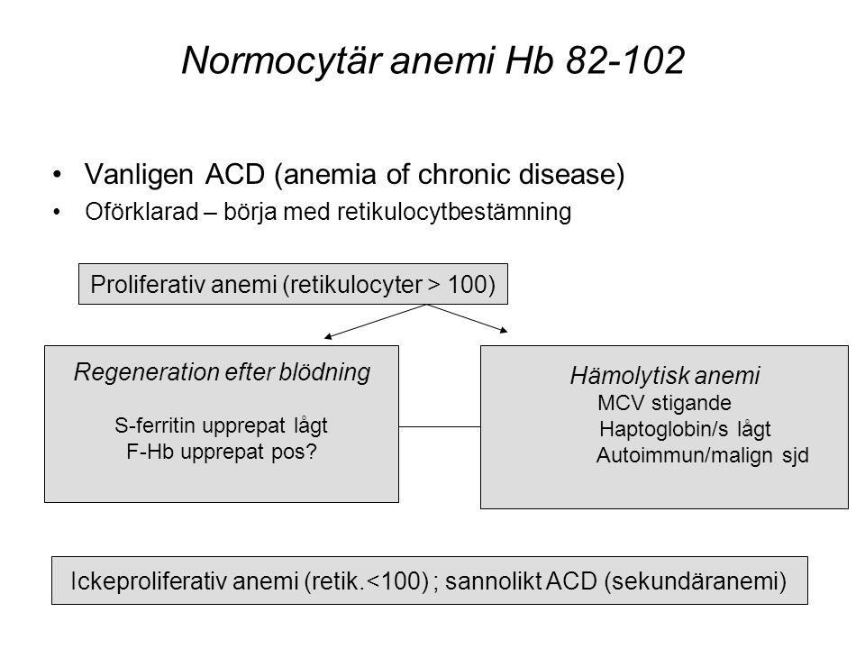 Normocytär anemi Hb 82-102 Vanligen ACD (anemia of chronic disease)