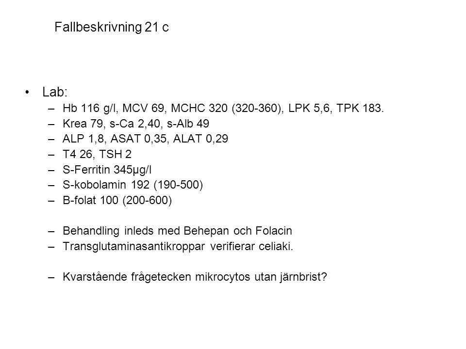 Fallbeskrivning 21 c Lab: