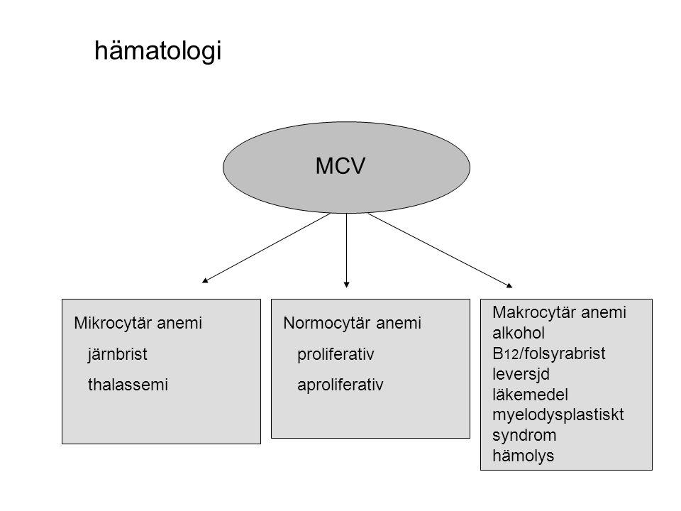 hämatologi MCV. Makrocytär anemi alkohol B12/folsyrabrist leversjd läkemedel myelodysplastiskt syndrom hämolys.