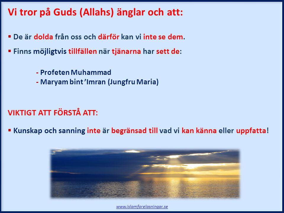 Vi tror på Guds (Allahs) änglar och att:
