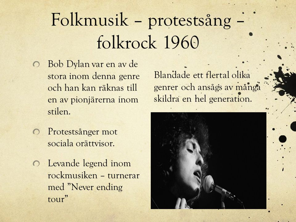 Folkmusik – protestsång – folkrock 1960