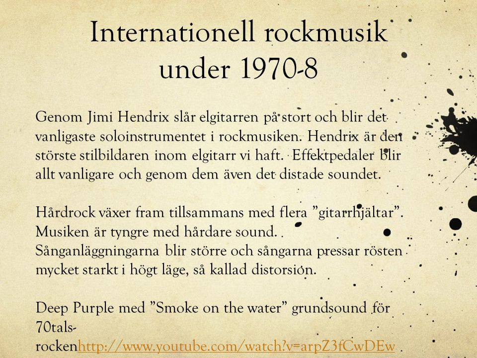 Internationell rockmusik under 1970-8