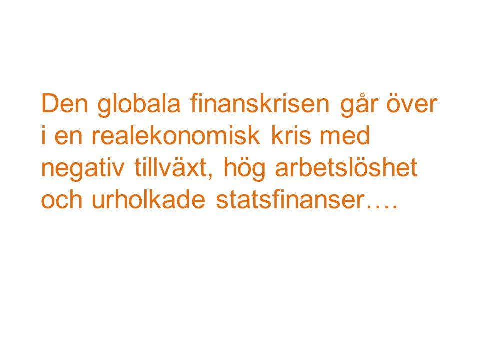 Den globala finanskrisen går över i en realekonomisk kris med negativ tillväxt, hög arbetslöshet och urholkade statsfinanser….