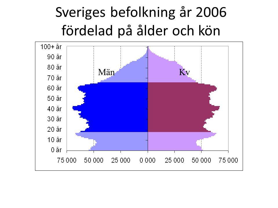 Sveriges befolkning år 2006 fördelad på ålder och kön
