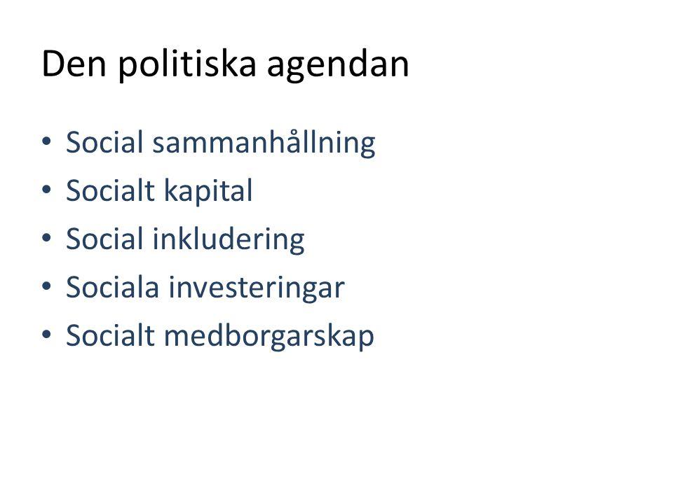 Den politiska agendan Social sammanhållning Socialt kapital