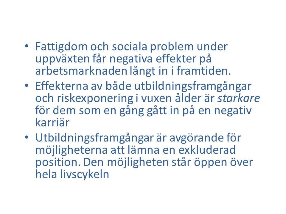 Fattigdom och sociala problem under uppväxten får negativa effekter på arbetsmarknaden långt in i framtiden.