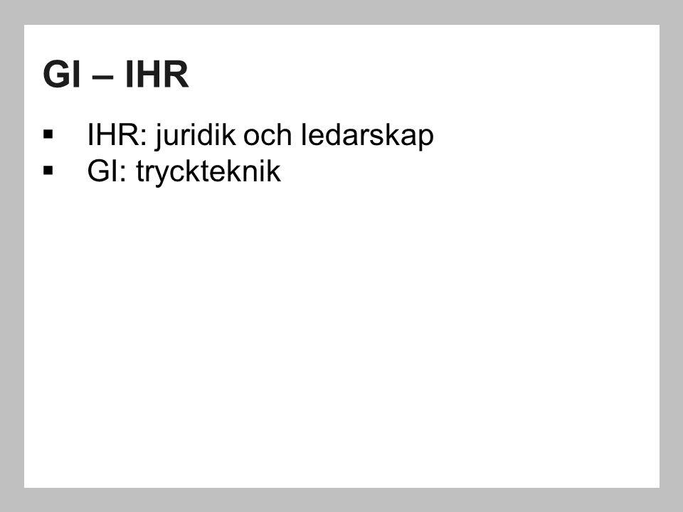 GI – IHR IHR: juridik och ledarskap GI: tryckteknik