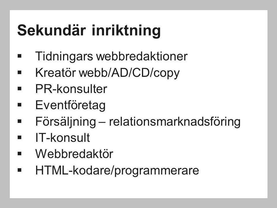 Sekundär inriktning Tidningars webbredaktioner Kreatör webb/AD/CD/copy