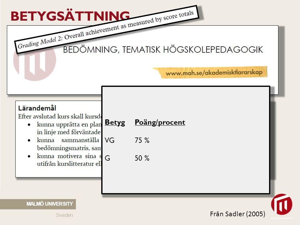 BETYGSÄTTNING Betyg Poäng/procent VG 75 % G 50 % Från Sadler (2005)