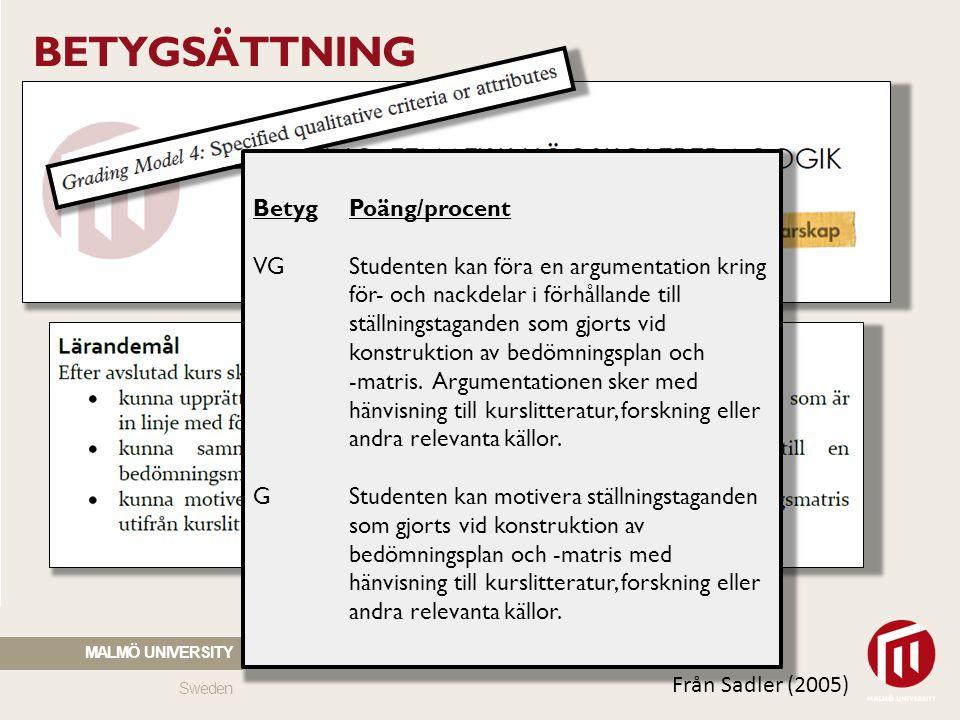 BETYGSÄTTNING Betyg Poäng/procent