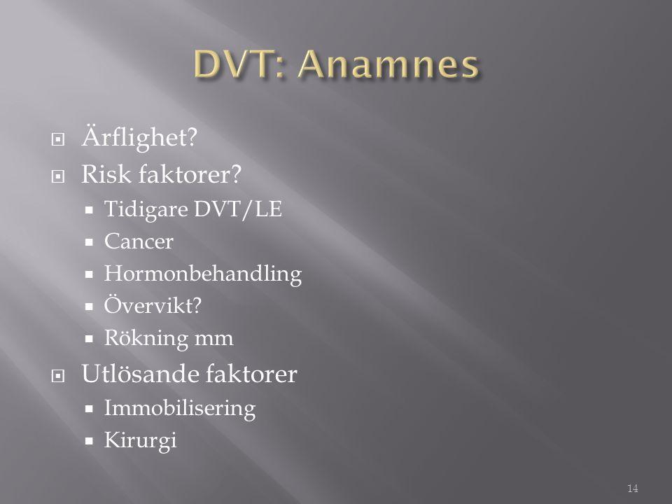 DVT: Anamnes Ärflighet Risk faktorer Utlösande faktorer