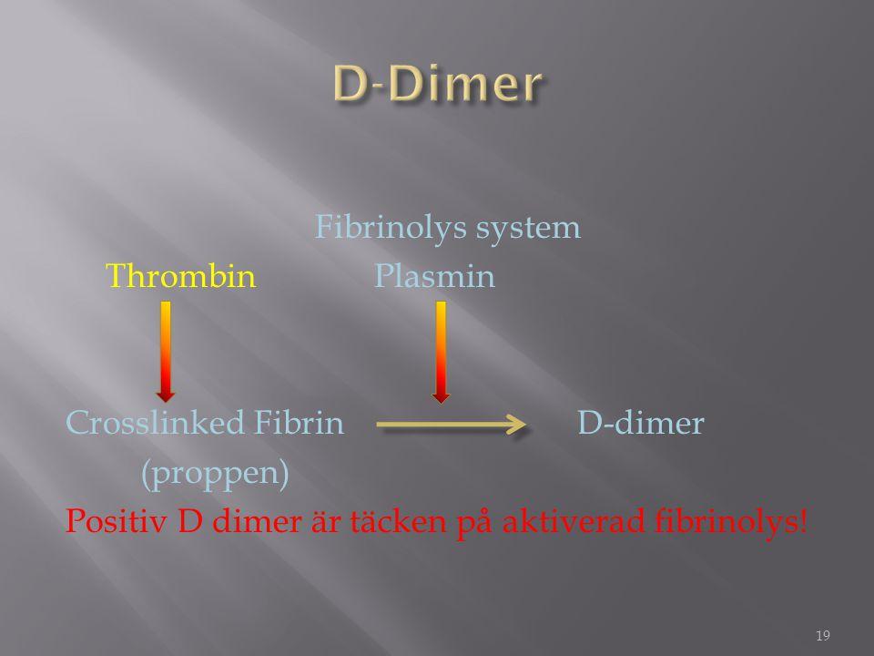 D-Dimer Fibrinolys system Thrombin Plasmin Crosslinked Fibrin D-dimer (proppen) Positiv D dimer är täcken på aktiverad fibrinolys!