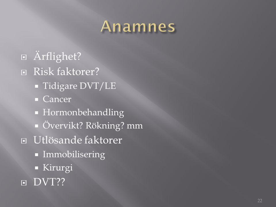 Anamnes Ärflighet Risk faktorer Utlösande faktorer DVT