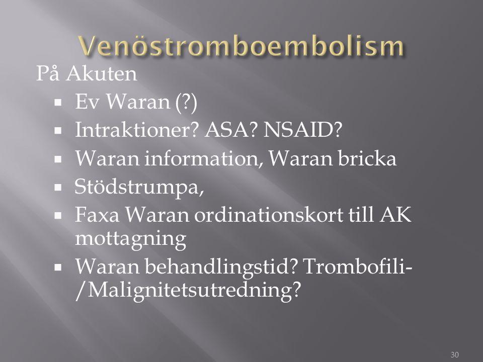 Venöstromboembolism På Akuten Ev Waran ( ) Intraktioner ASA NSAID