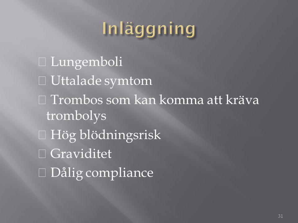 Inläggning ◆ Lungemboli ◆ Uttalade symtom ◆ Trombos som kan komma att kräva trombolys ◆ Hög blödningsrisk ◆ Graviditet ◆ Dålig compliance