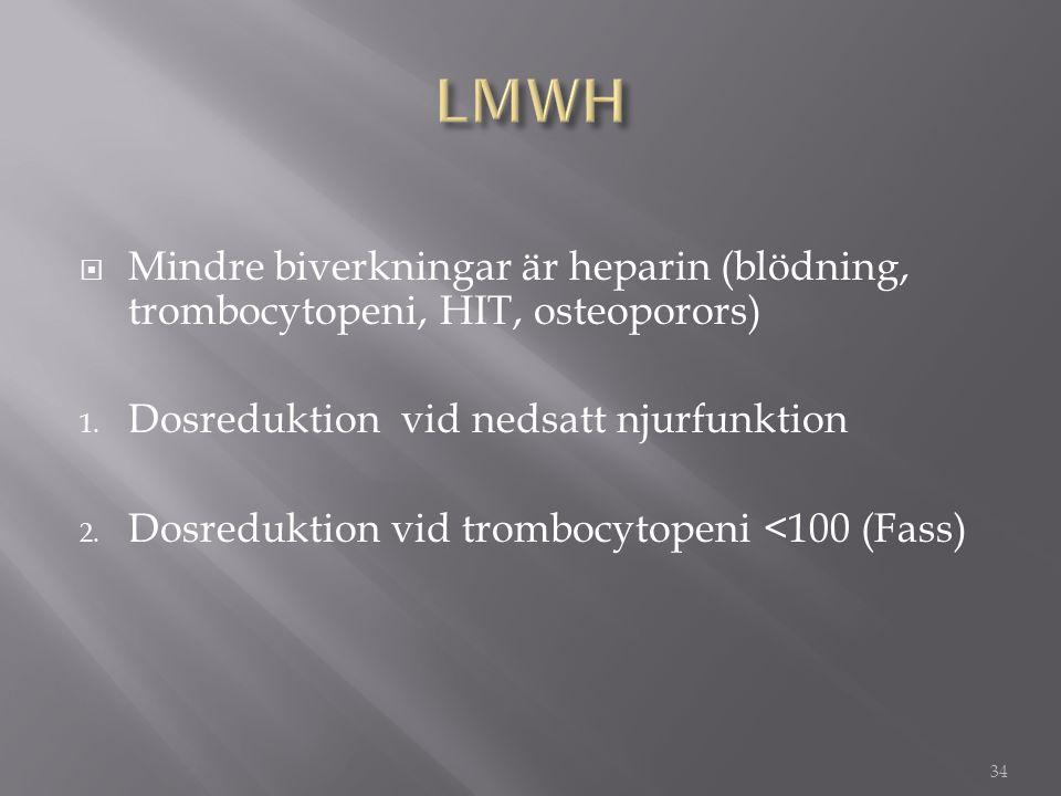 LMWH Mindre biverkningar är heparin (blödning, trombocytopeni, HIT, osteoporors) Dosreduktion vid nedsatt njurfunktion.