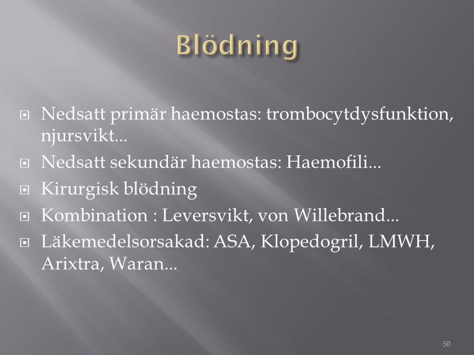 Blödning Nedsatt primär haemostas: trombocytdysfunktion, njursvikt...