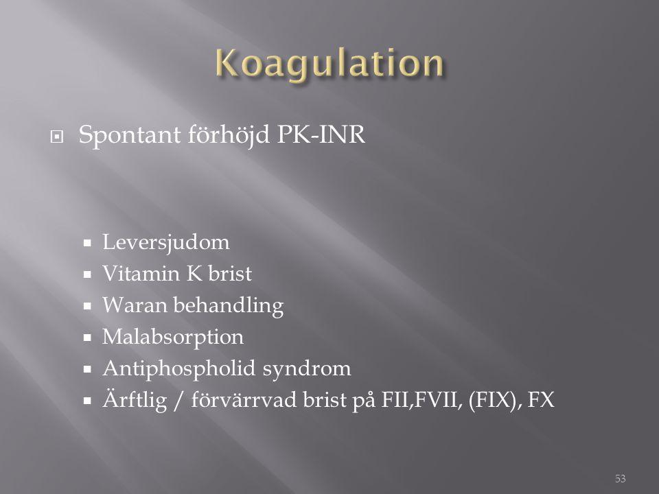 Koagulation Spontant förhöjd PK-INR Leversjudom Vitamin K brist