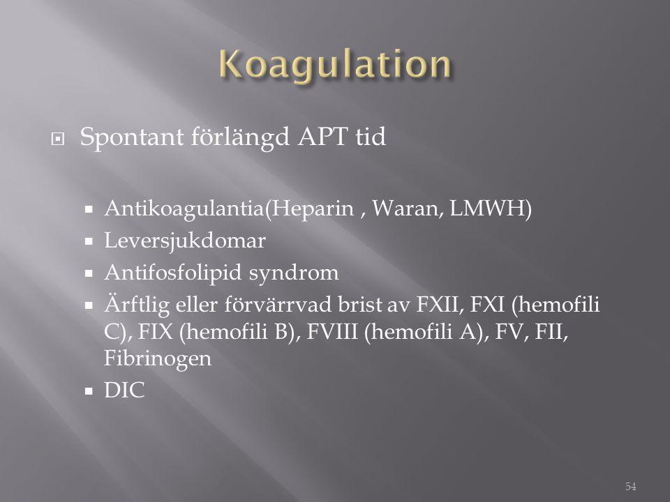 Koagulation Spontant förlängd APT tid
