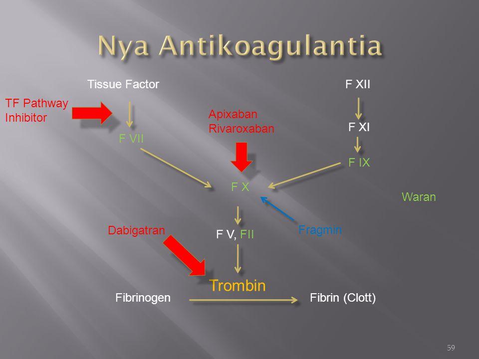 Nya Antikoagulantia Trombin Tissue Factor F XII TF Pathway Inhibitor