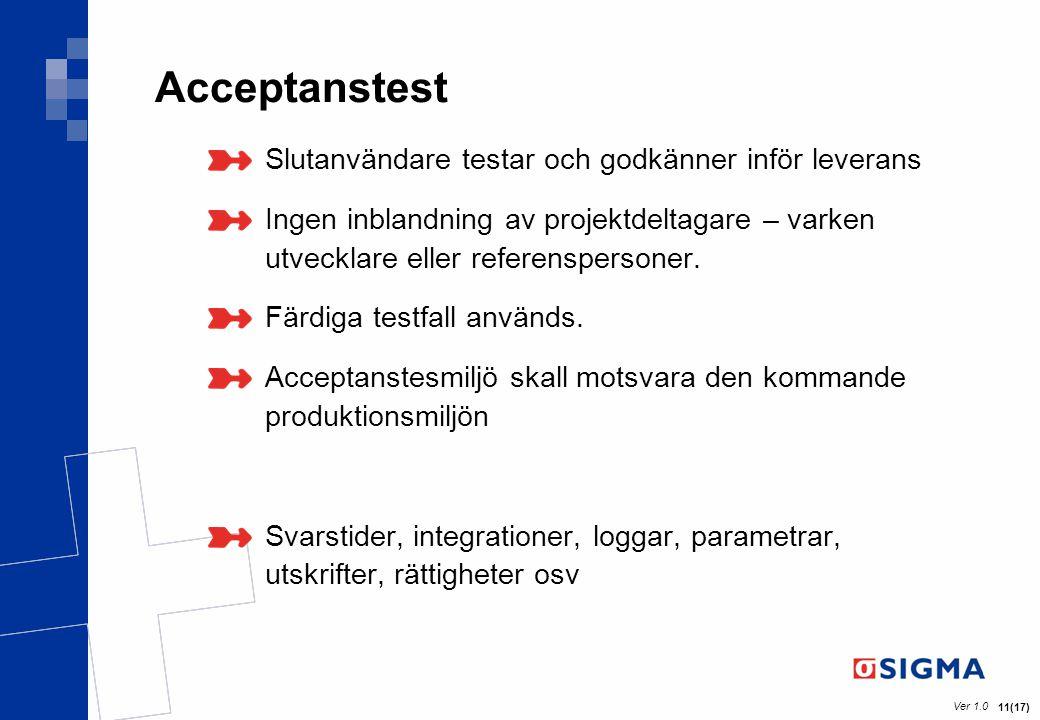 Acceptanstest Slutanvändare testar och godkänner inför leverans