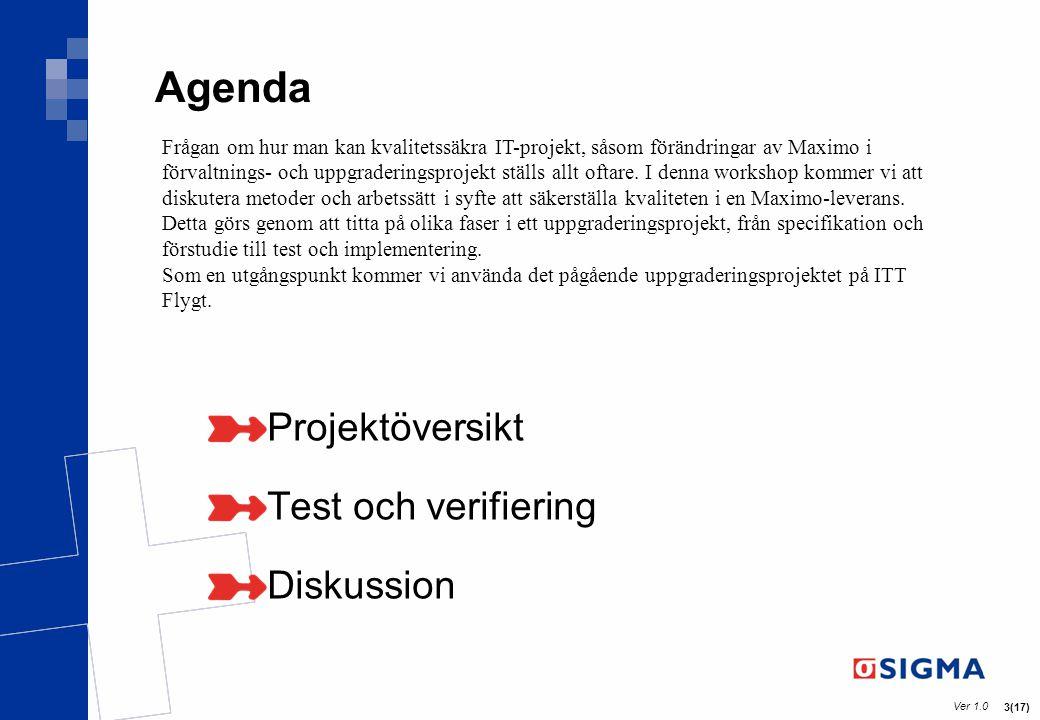 Agenda Projektöversikt Test och verifiering Diskussion