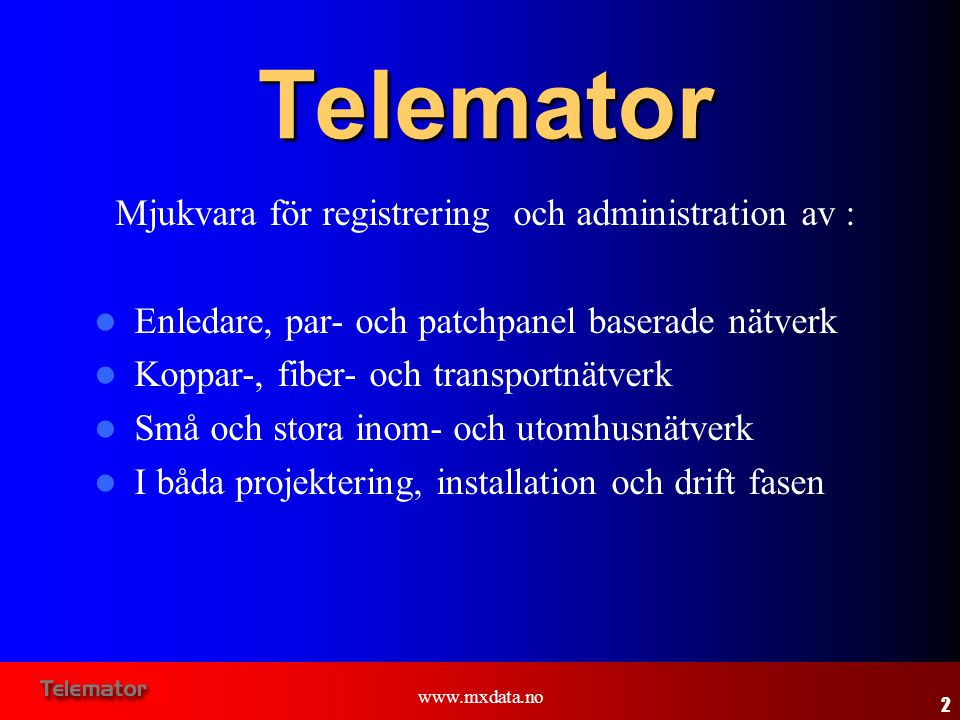 Mjukvara för registrering och administration av :