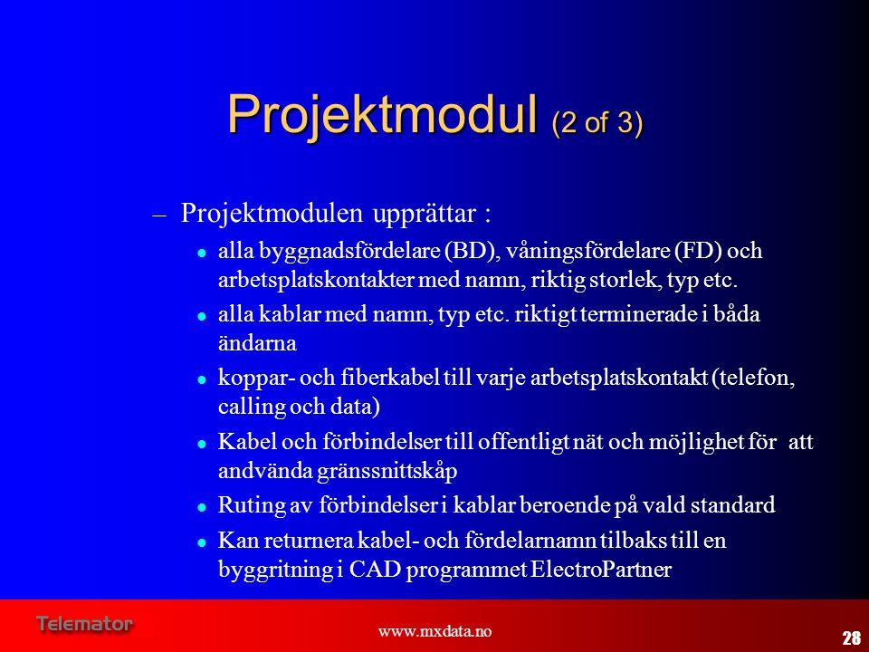 Projektmodul (2 of 3) Projektmodulen upprättar :