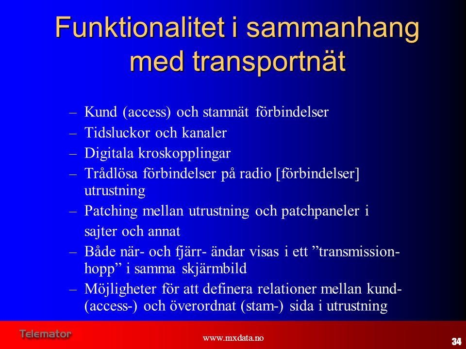 Funktionalitet i sammanhang med transportnät