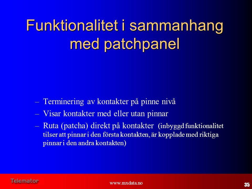 Funktionalitet i sammanhang med patchpanel