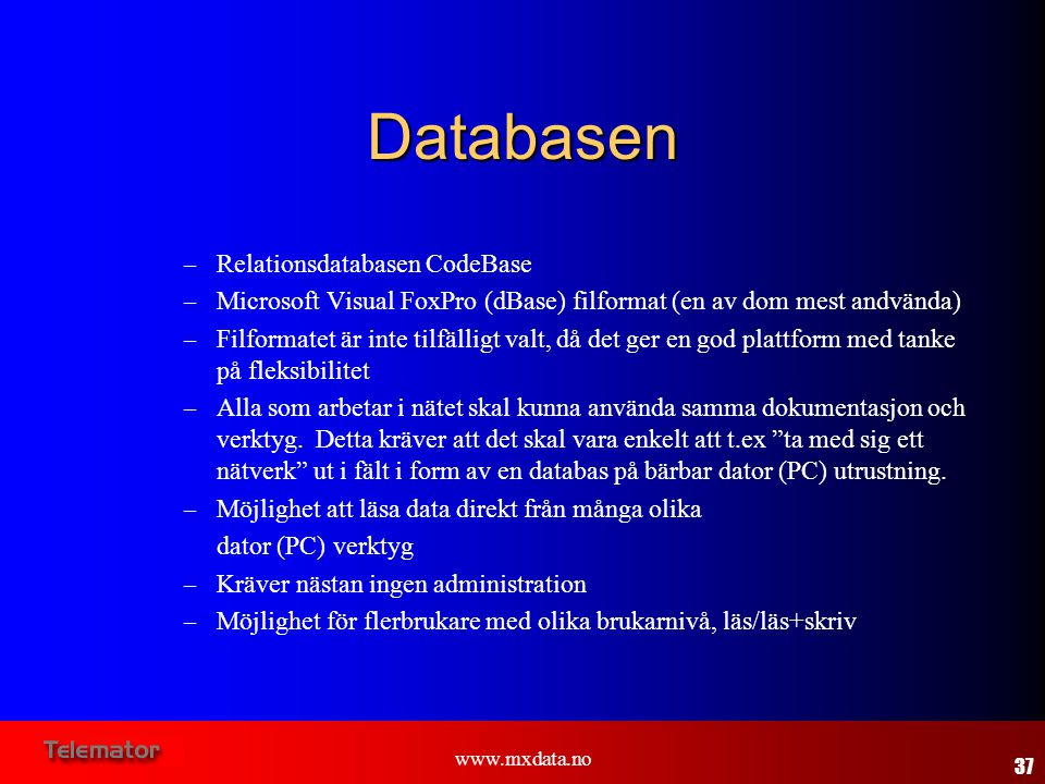 Databasen Relationsdatabasen CodeBase