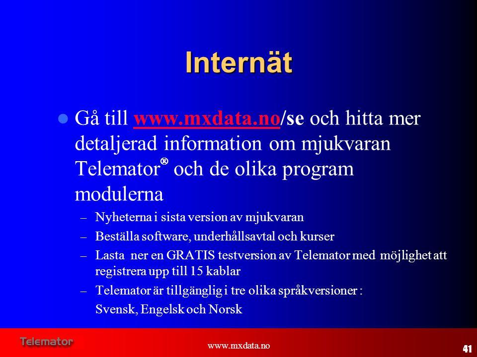 Internät Gå till www.mxdata.no/se och hitta mer detaljerad information om mjukvaran TelematorÒ och de olika program modulerna.