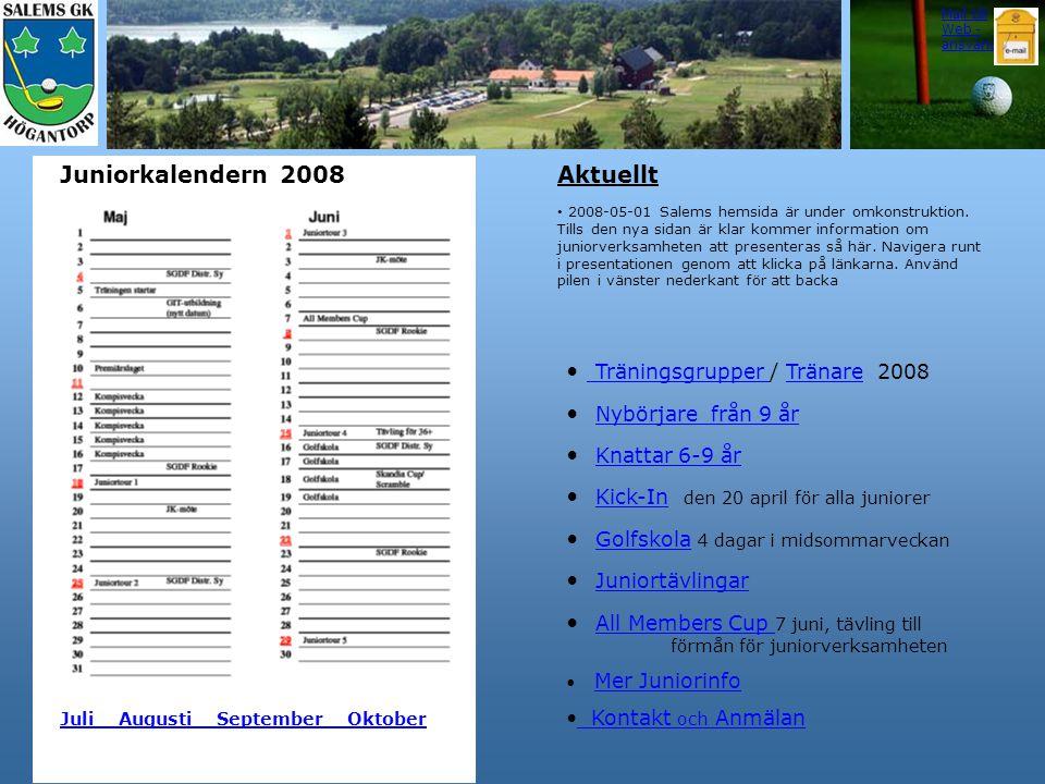 Träningsgrupper / Tränare 2008 Nybörjare från 9 år Knattar 6-9 år