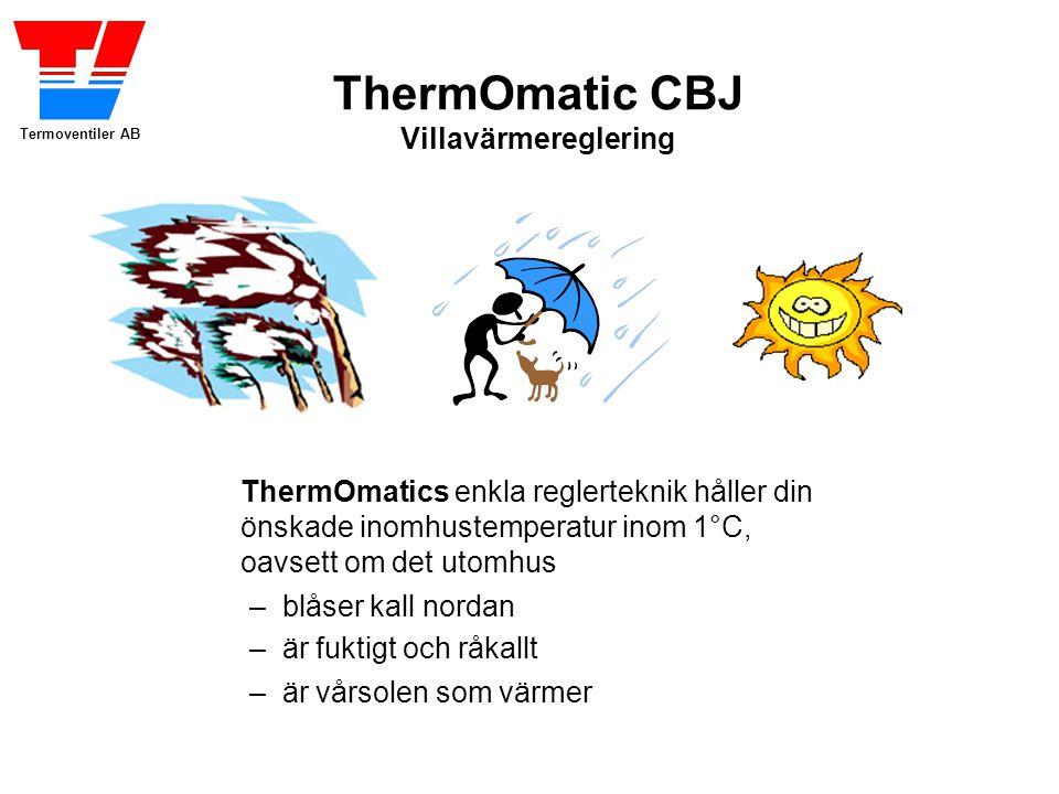ThermOmatics enkla reglerteknik håller din önskade inomhustemperatur inom 1°C, oavsett om det utomhus
