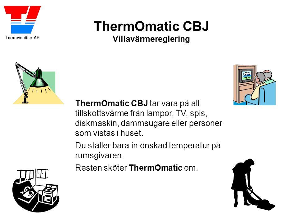 ThermOmatic CBJ tar vara på all tillskottsvärme från lampor, TV, spis, diskmaskin, dammsugare eller personer som vistas i huset.