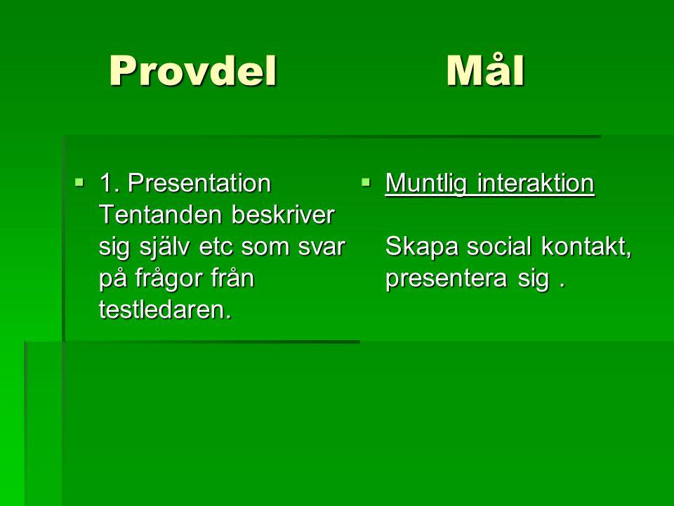 Provdel Mål 1. Presentation Tentanden beskriver sig själv etc som svar på frågor från testledaren.