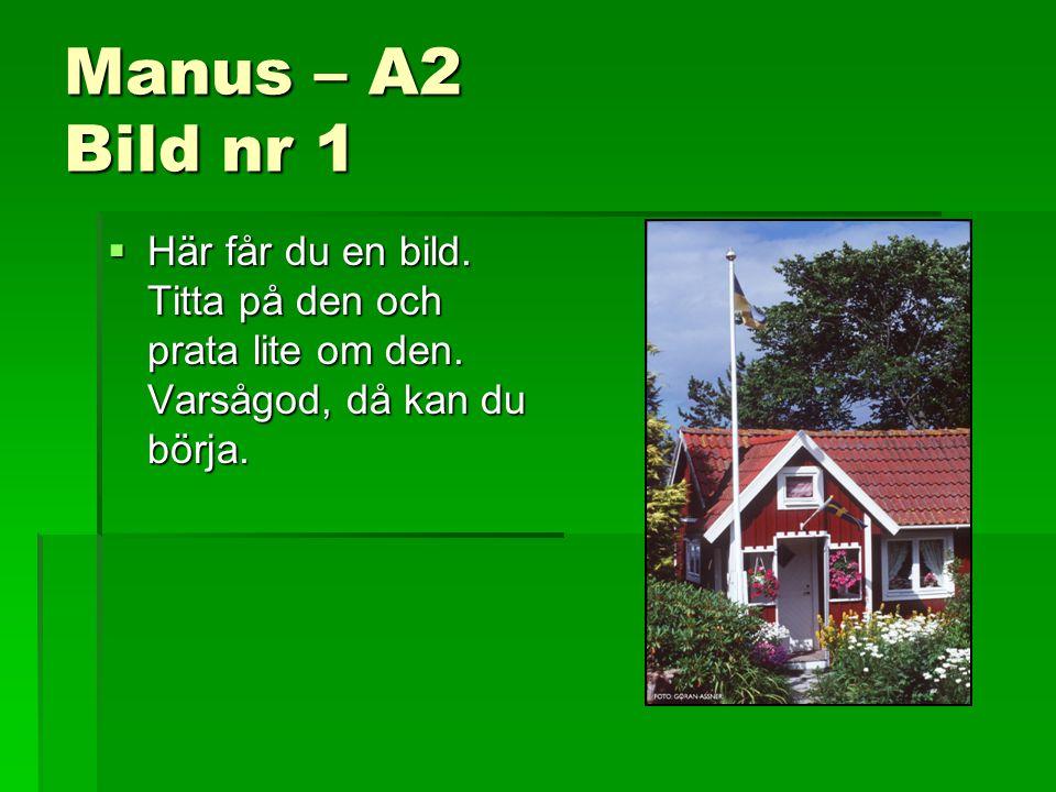 Manus – A2 Bild nr 1 Här får du en bild. Titta på den och prata lite om den.