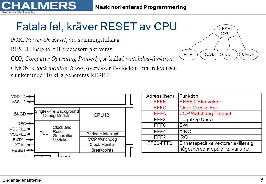 Fatala fel, kräver RESET av CPU