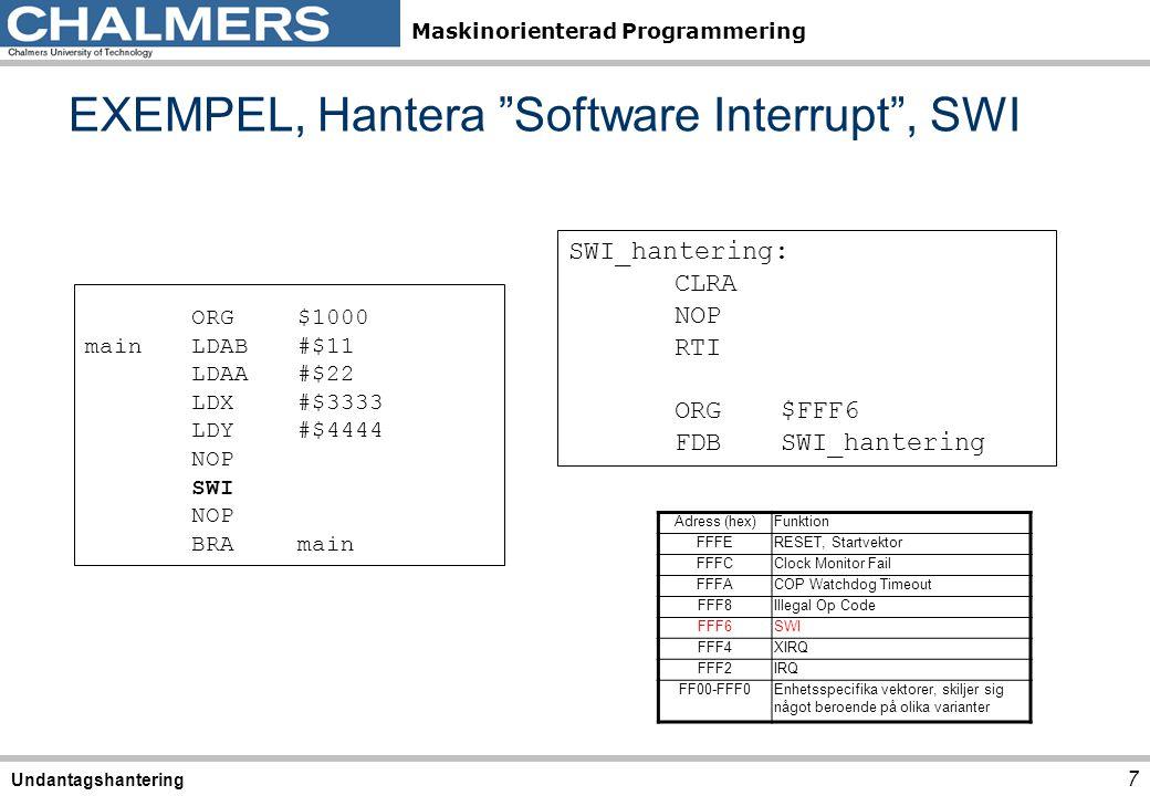 EXEMPEL, Hantera Software Interrupt , SWI